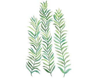 Green Vines 8x10 Print - Archival Quality Watercolor Giclee - Bright Green Plant Painting Minimalist