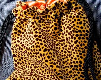 11x12 Thick Furry Cheetah Design Gold Black Drawstring Bag Gold Satin Lining