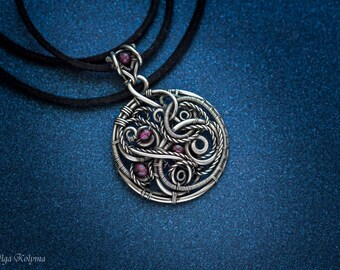 Silver necklace Wire wrapped necklace Mens pendant Gothic necklace Garnet pendant Silver pendant Gothic pendant Garnet pendant wire wrap