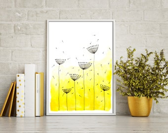"""Original Watercolor Painting - Abstract Dandelions 2 - 8.5x12"""" up to 24x34"""" Art Print, Wall Decor, Illustration"""