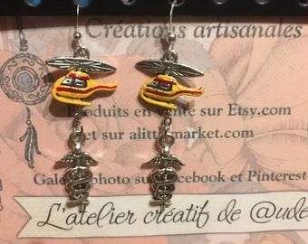 Hanga earrings 'Dragon 66 and the Caduceus.
