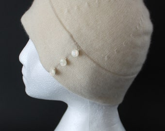 Vintage Ivory Cashmere Hat by Ann Taylor, Knit Beanie Skull Cap