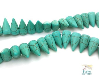 5 pearls turquoise Howlite spikes, 10x16mm (PH167)