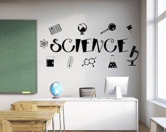 Science wall decal, science wall art, science teacher gift, classroom wall decal, science class decor, classroom decal, science decal