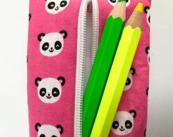 Panda Pencil Bag (Panda Bear Baby Shower, Pink Travel Case, School Supplies, Zipper Bag, Gift Under 20, Rollerball Holder, Pencil Pouch)