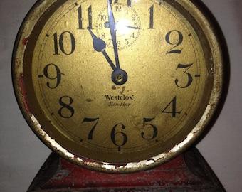 Vintage 1927 Ben Hur Alarm Clock - Western Clock Company U.S.A. Westclox Red Non-Luminous Nickel