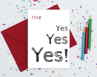 Wedding acceptance etsy rsvp card wedding acceptance card party acceptance card rsvp yes card invite stopboris Gallery