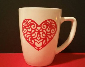 Heart Mug -Valentine for her- Valentine for him-Gift for her- personalized Valentine,-Coffee Lover - Birthday for her-coffee Mug