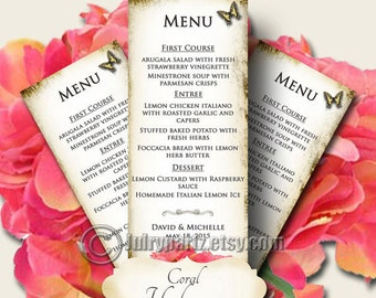 CORAL HYDRANGEA Wedding Menu, Printable Digital Images, Weddings, Parties, Bridal Shower, Menu,Baby Shower, Birthday, Wedding Decorations