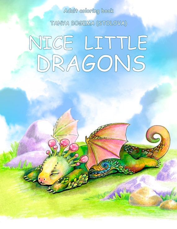 Nice Little Dragons Adult Coloring Book Pages PDF