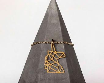 Unicorn Brass Necklace Pendant