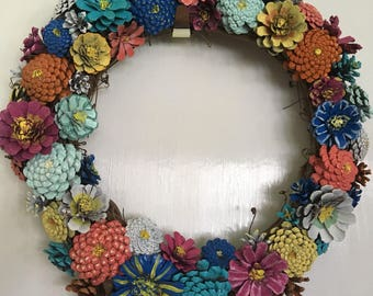 WELCOME SUMMER SALE! Pinecone Wreath - Summer Blooms