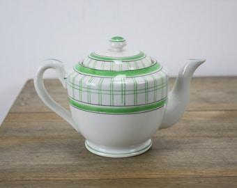 Vintage - Tea Pot - SEIEI & Co - White Porcelain - Hand Painted Green / Black Accents - 1930's - Japan