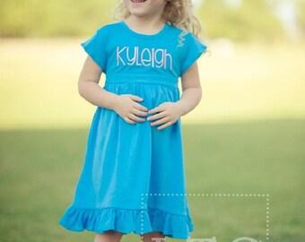 Girls Turquoise Knit Dress/Ruffle Sleeve Dress/Spring Dress/Summer Dress