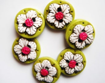 Button antiqued Flower polymer clay handmade buttons ( 6 )