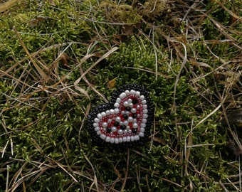 Elegant OOAK bead embroidery BLACK HEART brooch