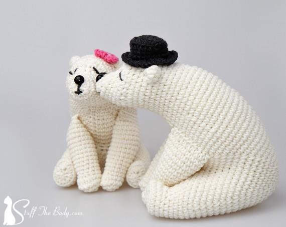 Kissing bears amigurumi pattern wedding crochet pattern home kissing bears amigurumi pattern wedding crochet pattern home decor bridal shower diy gifts polar bears white bears valentines day dt1010fo