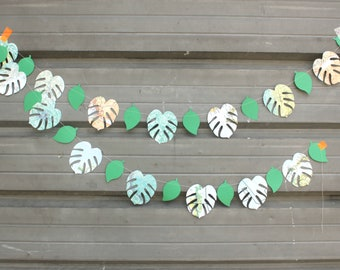 Tropical Party Decoration, Paper Garland, Party decorations, Made to Order, 6 feet long