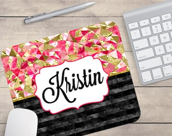 Black Gold Pink Mouse Pad, Glitz Mouse Pad, Personalized Mouse Pad, Name On Mouse Pad, Monogram Mouse Pad (0016)