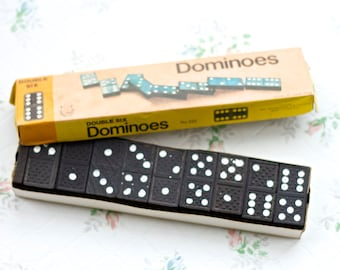 Vintage Travel Set of Dominoes in Blak - Made in Hong kong - Double Six