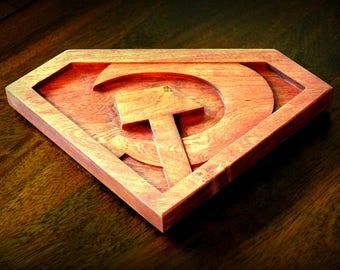 """Hardwood Red Son Superman Emblem (10"""")"""