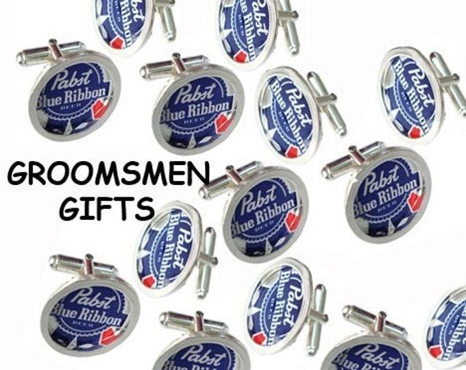 PBR Bottle Cap/ Sterling Silver cuff links groomsmen gifts