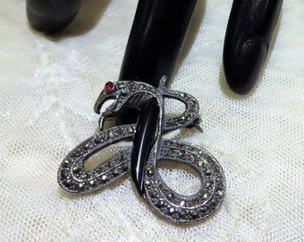Nice Vintage Sterling Silver Black Onyx,  Red Rhinestone and Marcasite Stone Snake/Serpent Brooch