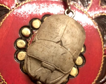 Art Deco Egyptian Revival Stone Scarab Hieroglyphic Sterling Silver Vintage Pendant