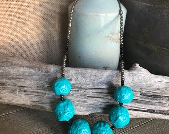 "PaperMache Bead ""Dots"" Necklace...Teal Turquoise."