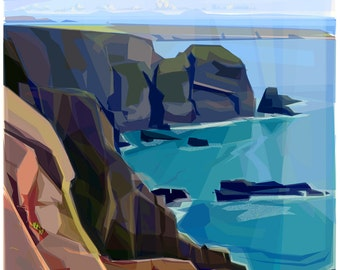 From the Cliff  .. mounted giclee print