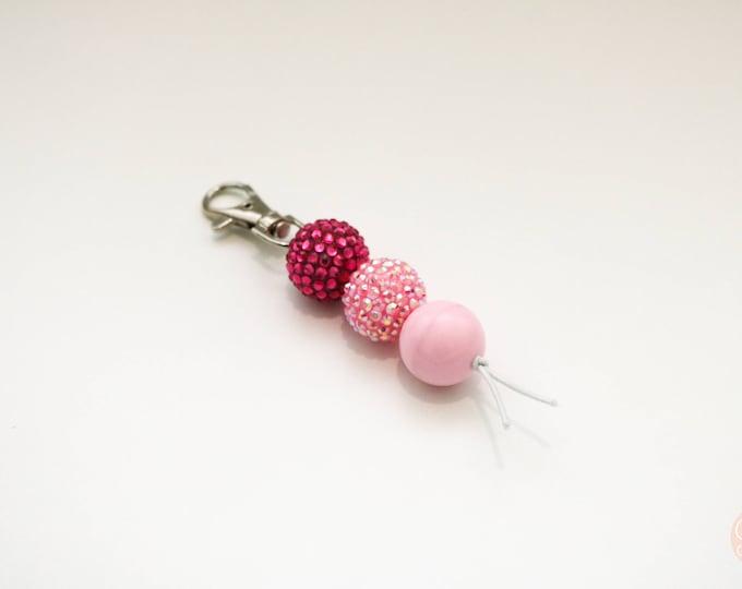 Mini Diva Pink Pop Beaded Keychain | Zip Pull.