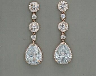 Wedding Earrings, Long Bridal Earrings, Rose Gold Earrings, Crystal Drop Earrings, Teardrop Earrings, Bridal Crystal Earrings