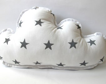 Cloud Pillow - Grey Stars -  Star Pillow - Grey Backing