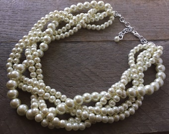 Ivory Chunky Pearl Necklace, Multi Strand Wedding Necklace, Pearl Statement Necklace on Silver or Gold Chain