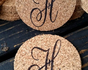 Cork Coasters, Personalized Cork Coaster for Wedding Receptions