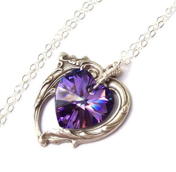 in round necklace p twinkledeals gem com necklaces pendant moon artificial purple