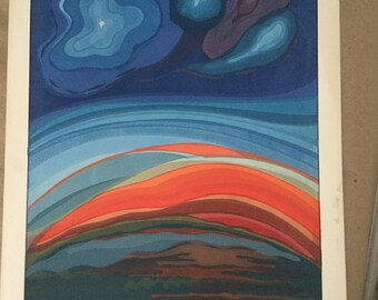 Beautiful Mid Century Lithograph Abstract Landscape Blue & Red