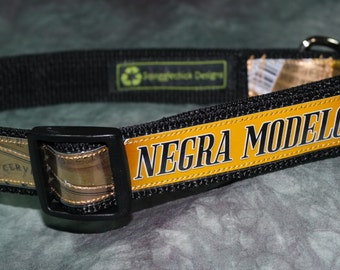 Adjustable Dog Collar from recycled Negra Modelo Beer Labels