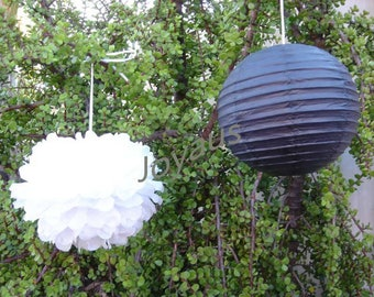 White Tissue Paper Pom Poms Black Paper Lanterns for Wedding Engagement Anniversary 21st Birthday Party Bridal Shower Graduation Decoration