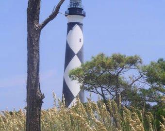 Cape Lookout Lighthouse Barrier Islands North Carolina Photography Fine Art Print By Scott D Van Osdol Black White Stripes Trees Pine Grass
