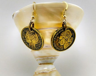 Vintage French Coin Earrings 1940's -287 V