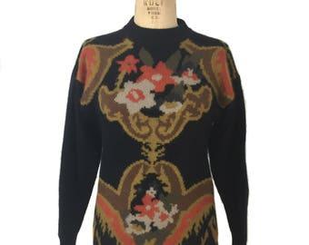 vintage 1980's MONDI floral sweater / angora sweater / furry sweater / women's vintage sweater / tag size 34