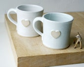 SECONDS SALE - Set of two heart mugs glazed in brilliant white