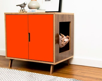 Mid Century Modern Cat Litter Box Furniture | LARGE Cat Litter Box Cover |  Pet House