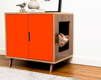 Mid Century Modern Cat Litter Box Furniture | LARGE Cat Litter Box Cover |  Pet House