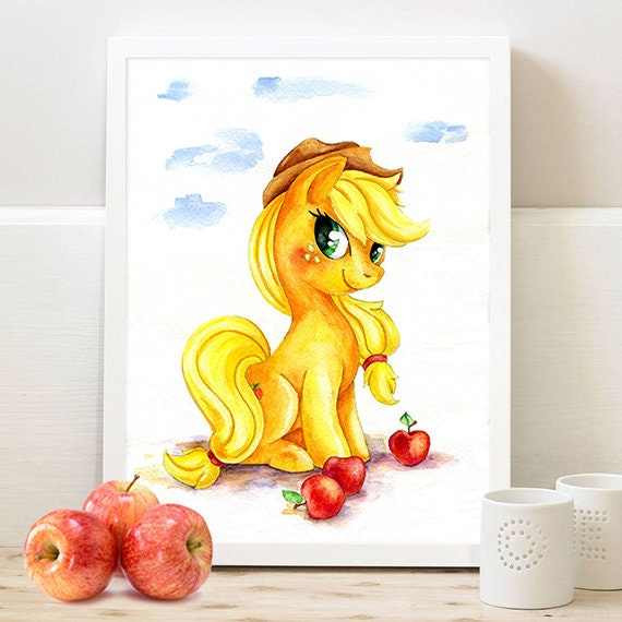 Original watercolor My Little Pony Applejack Watercolor