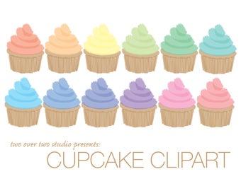 Cupcake Clipart, Watercolor Cupcakes, Pastel Cupcake Illustration, Scrapbooking Clip Art and Digital Download