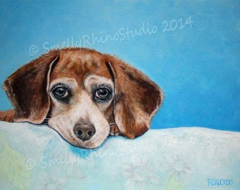 8x10 Giclee Print Beagle in Blue RSalcedo A4C Free Shipping
