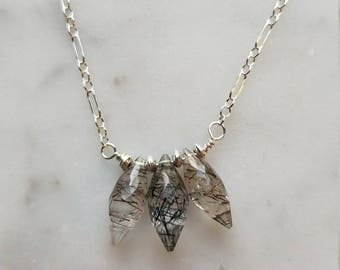 Rutilated quartz on sterling silver necklace