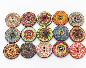 BOHO Wooden Button, Bohemian Pattern Wood Buttons Aztec Pattern, BOHO Chic Buttons, Tribal Button, Floral Button, Boho Patterns Buttons